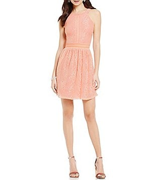 I.N. San Francisco High-Neck A-line Lace Dress