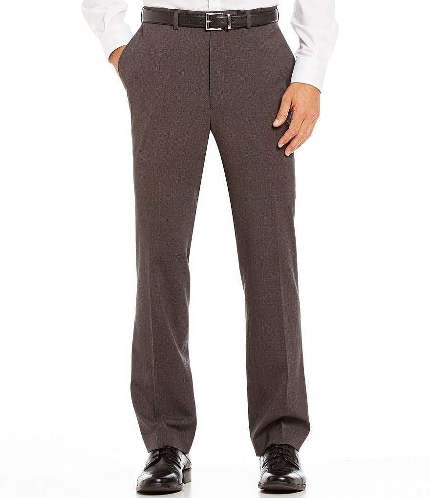 Roundtree & Yorke Travel Smart Ultimate Comfort Classic Fit Flat-Front Textured Dress Pants