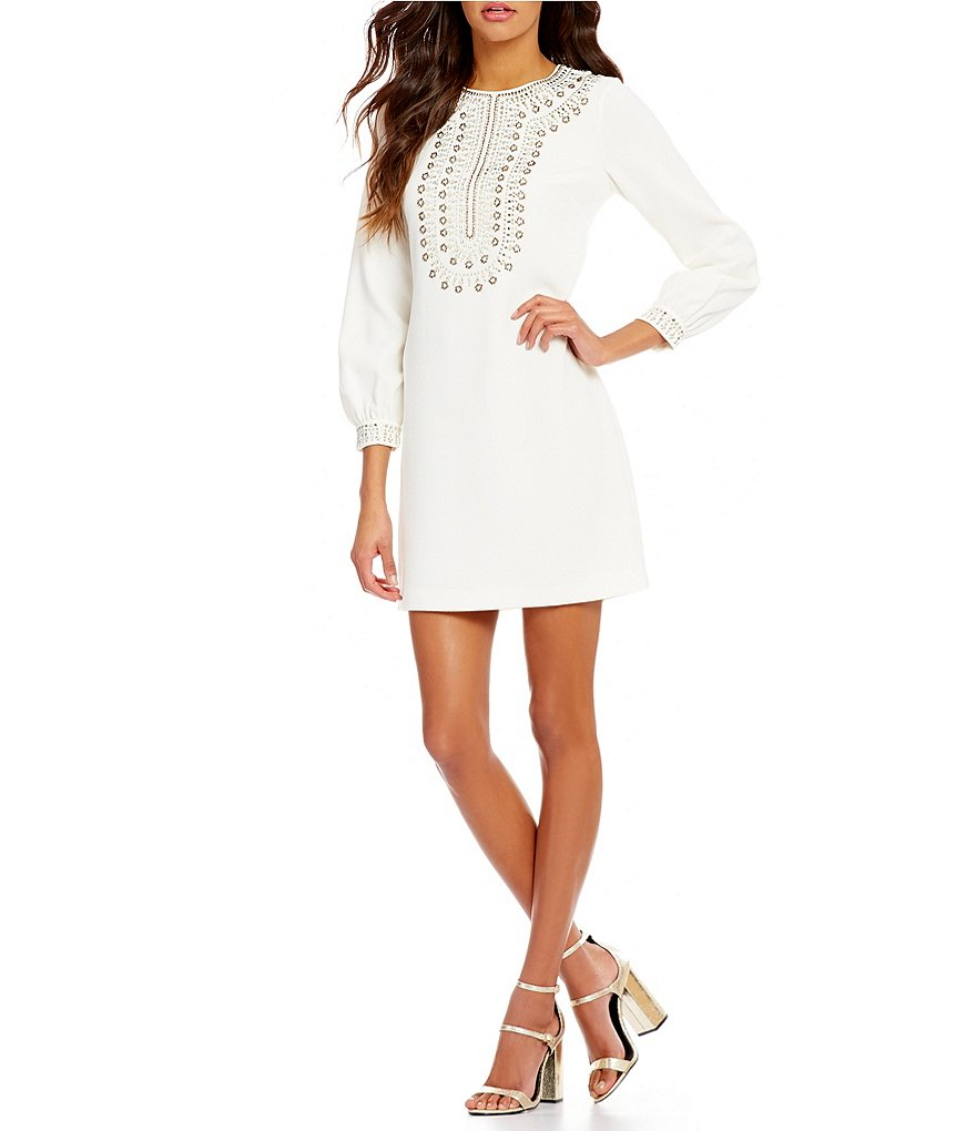 Trina Turk Kapona Embellished Crew Neck 3/4 Sleeve Crepe Shift Dress