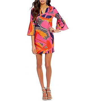 Trina Turk Pali Split V-Neck Bell Sleeve Printed Ponte Dress