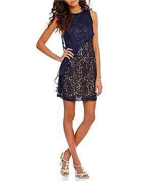 S.L. Fashions Sequined Lace Chiffon Overlay Dress