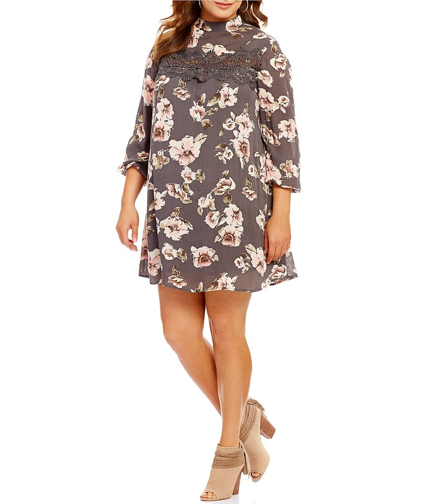 Blu Pepper Plus Floral Mock Neck Swing Dress
