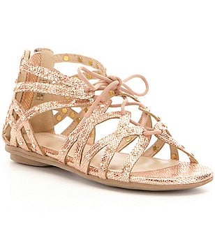 Kenneth Cole Reaction Girl´s Bright Leather Caged Lace-Up Ghillie Sandals