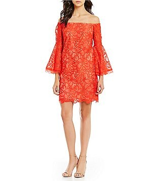 Trina Turk Akamai Off-the-Shoulder Long Bell Sleeve Lace Shift Dress