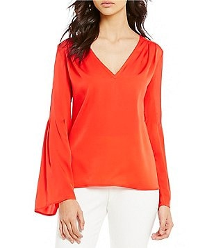 Trina Turk Iolana Georgette Long Bell Sleeve Blouse