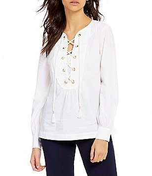 Trina Turk Kahula Lace-Up Long Sleeve Top
