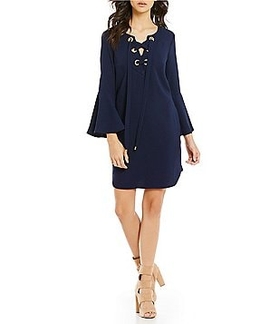 Trina Turk Xandra Lace-Up Long Bell Sleeve Dress
