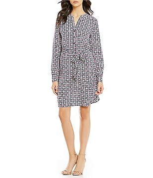 Trina Turk Keiki Crepe Point Collar Long Sleeve Shirt Dress