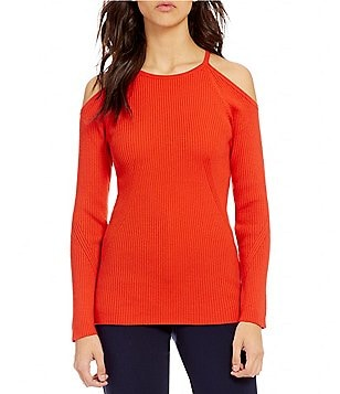 Trina Turk Kawaii Long Sleeve Cold Shoulder Knit Top