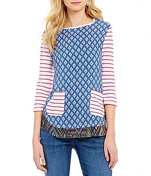 Westbound Petite 3/4 Sleeve Multi Media Button Sleeve Top