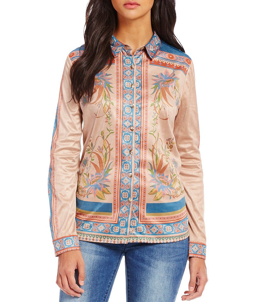 C&V Chelsea & Violet Faux-Suede Printed Button-Down Shirt