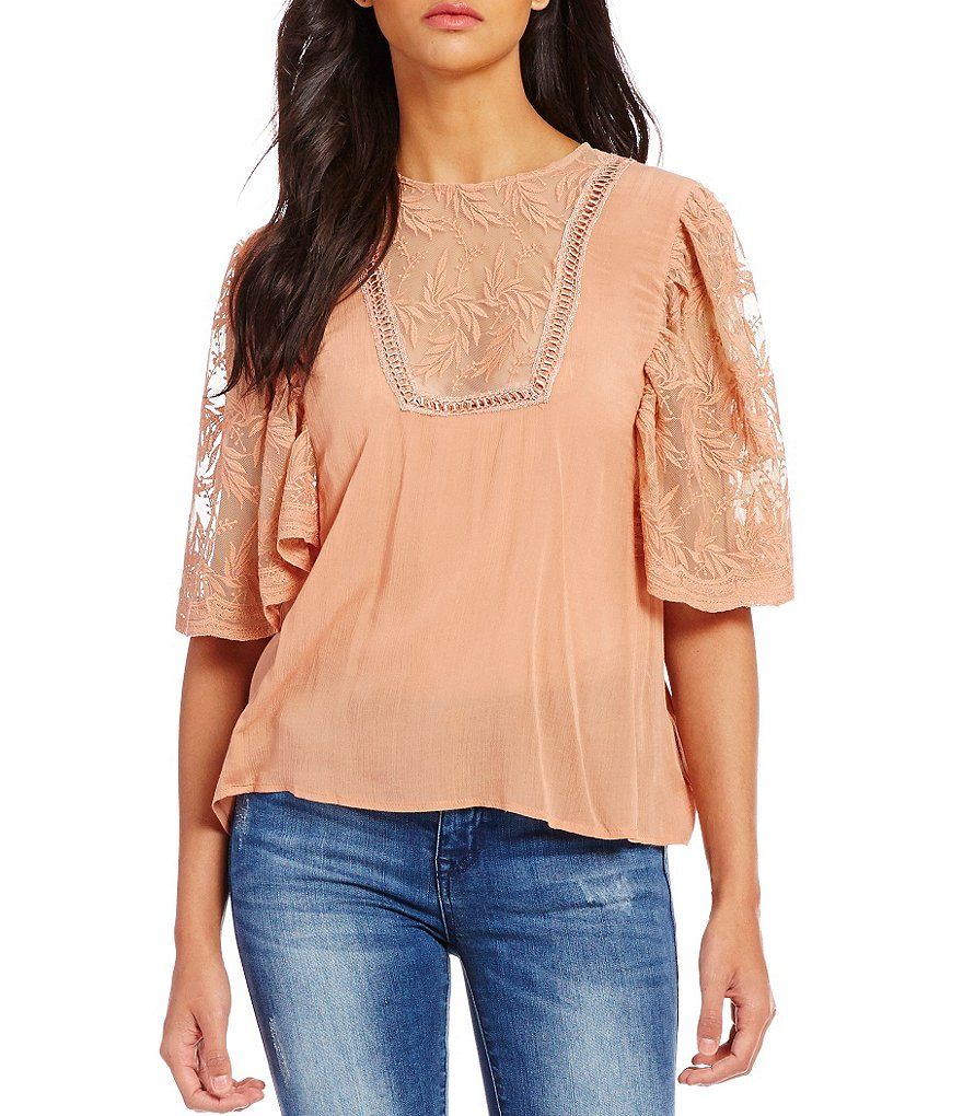 C&V Chelsea & Violet Embroidered-Mesh Yoke Woven Blouse