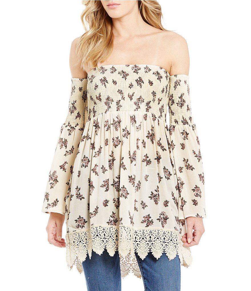 Blu Pepper Smocked Floral Print Off-The-Shoulder Top