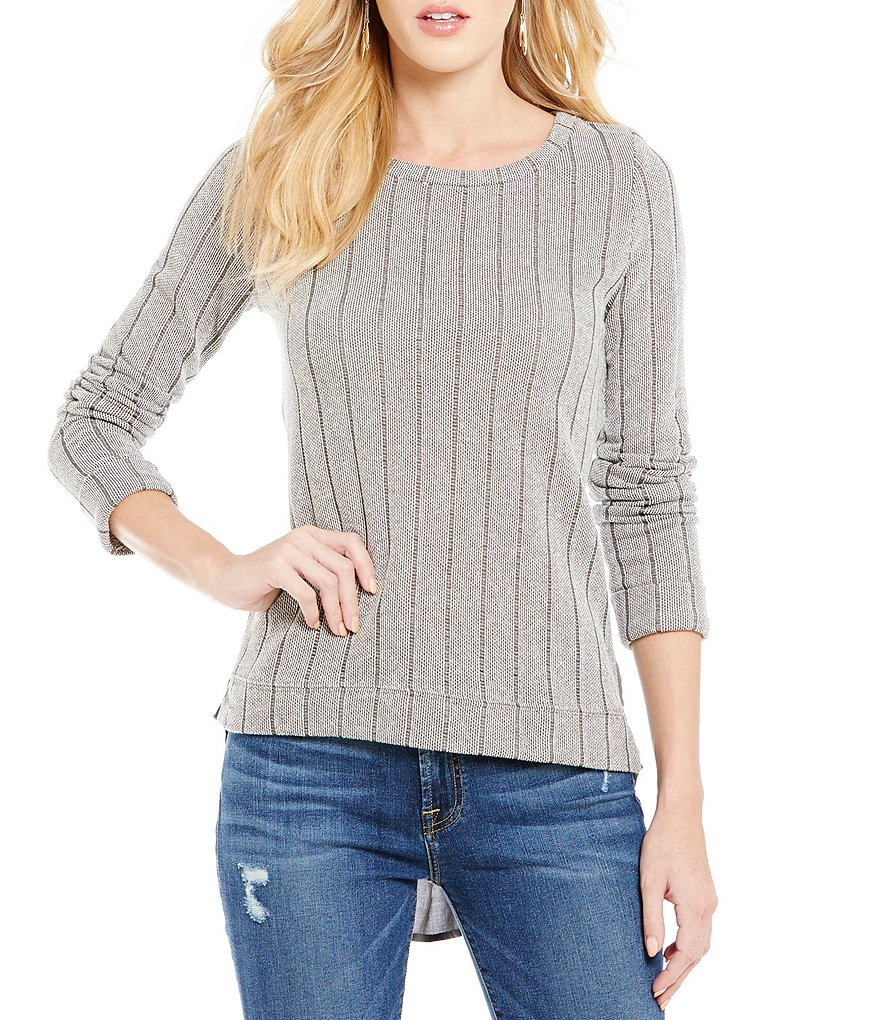 Blu Pepper Chiffon-Back High-Low Striped Knit Sweater