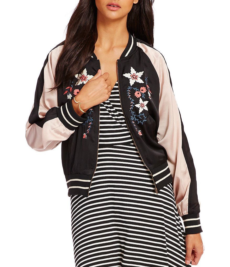 C&V Chelsea & Violet Embroidered Color Block Bomber Jacket