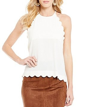 Blu Pepper Scalloped Keyhole Back Tank Top