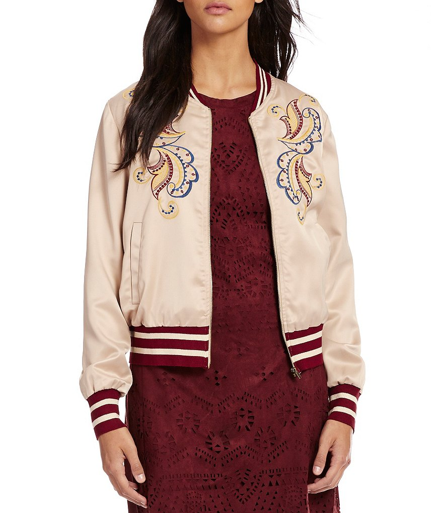 C&V Chelsea & Violet Embroidered Bomber Jacket