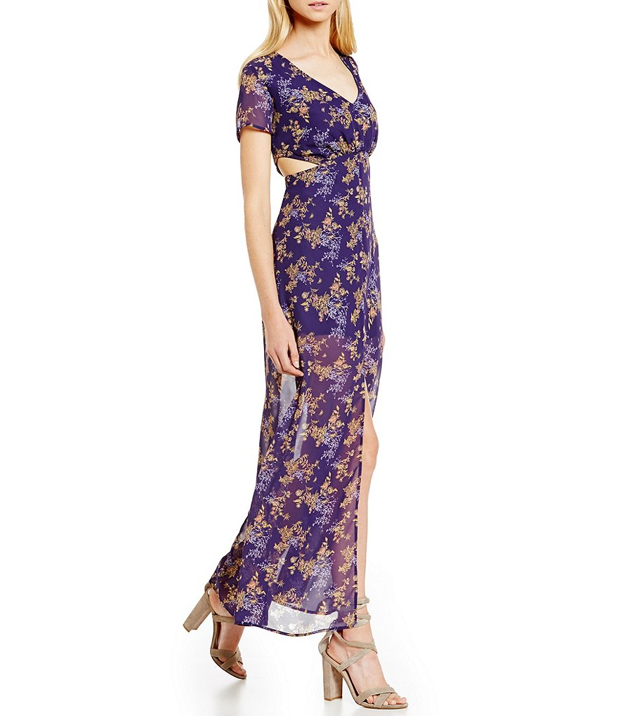 C&V Chelsea & Violet Floral Printed Cut-Out Maxi Sheath Dress