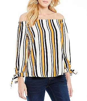 Blu Pepper Vertical Stripe Off-The-Shoulder Top