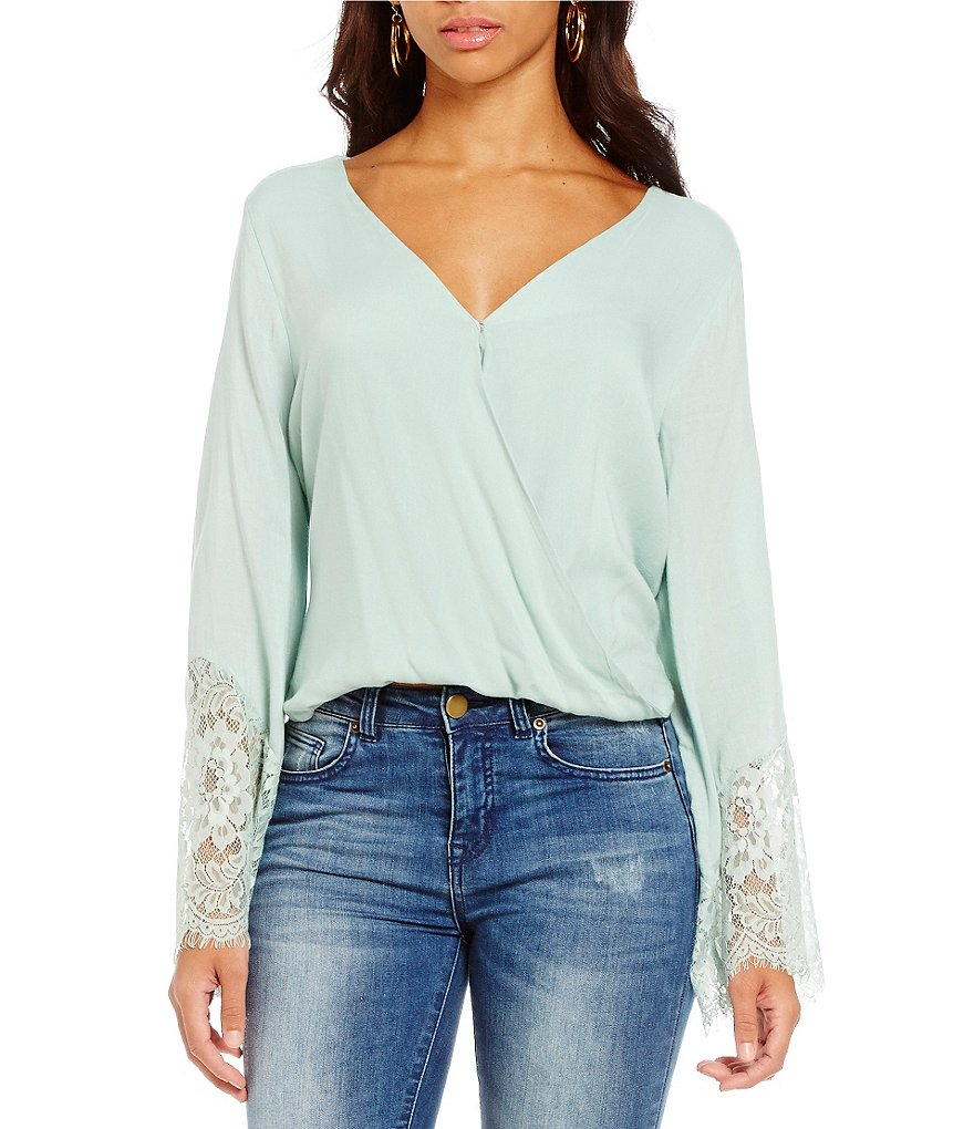 C&V Chelsea & Violet Crossover Lace-Bell-Sleeve Blouse