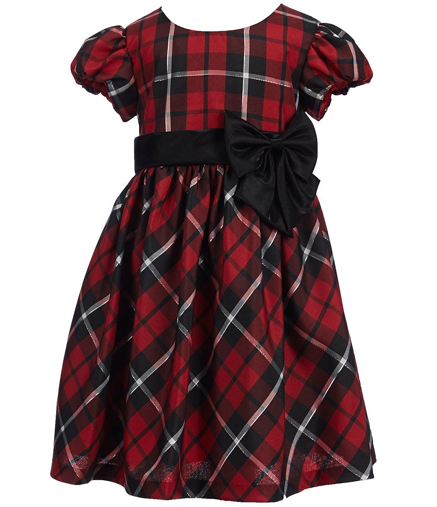 Bonnie Jean Little Girls 2T-6X Holiday Plaid Bow Dress