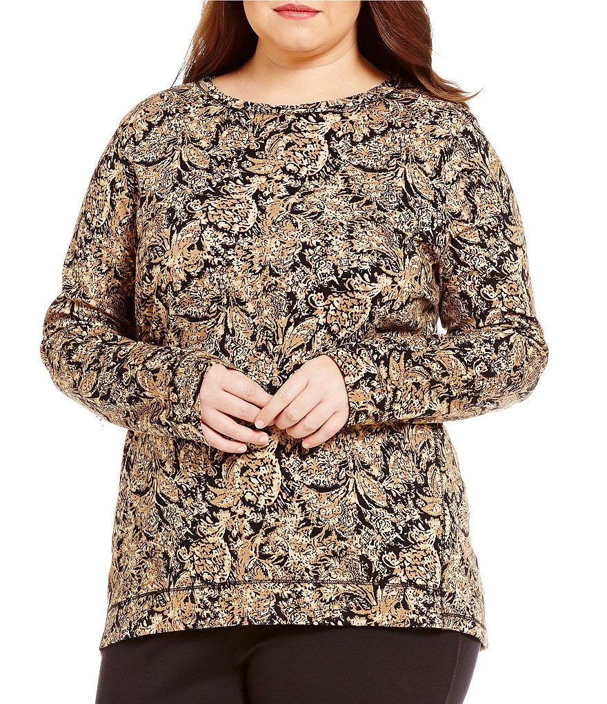 Westbound Plus Crew Neck Long Sleeve Printed Tunic