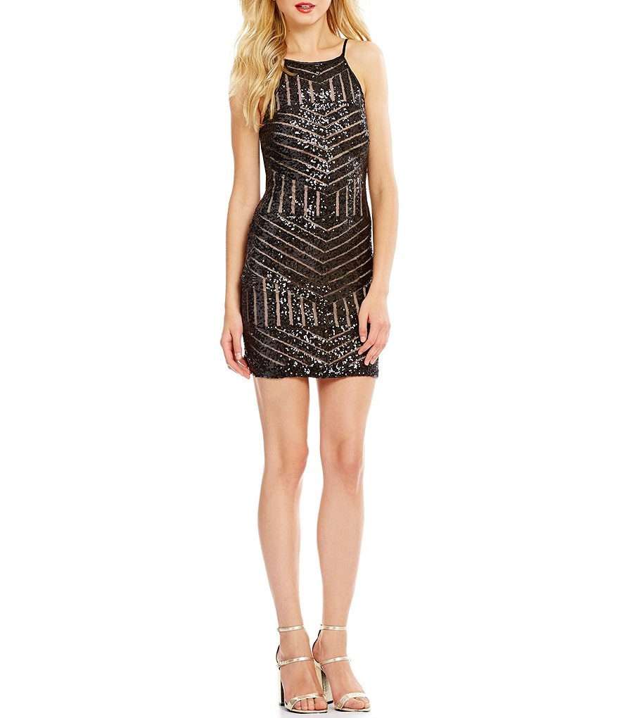 Teeze Me Sequin Patterned Halter-Neck Sheath Dress