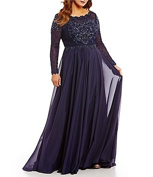 Terani Couture Plus Beaded-Bodice Boat Neck Long Sleeve Chiffon Gown