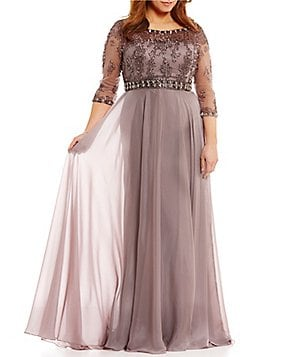 Terani Couture Plus Illusion Beaded-Bodice 3/4 Sleeve Gown