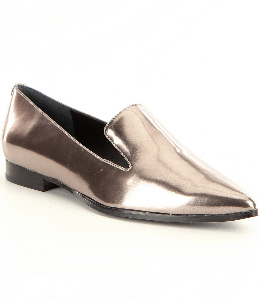 Guess Loriana2 Chrome Leather Slip-On Flats