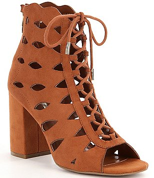 Guess Owina Cutout Detail Suede Lace-Up Back Zip Block Heel Booties