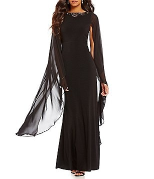 Sangria Beaded Neckline Cape Sleeve Gown