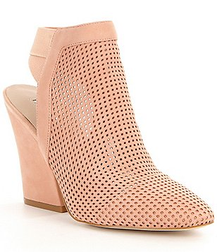 Guess Norine Perforated Nubuck Slip On Block Heel Booties