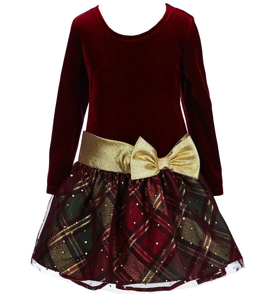 Bonnie Jean Little Girls 4-6X Holiday Drop-Waist Velvet-Bodice Bow Dress