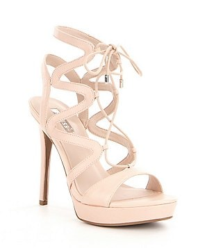 Guess Aurela Leather Lace-Up Ultra High Heel Dress Sandals