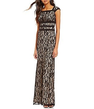 Sangria Square Neck Cap Sleeve Illusion Lace Mermaid Gown