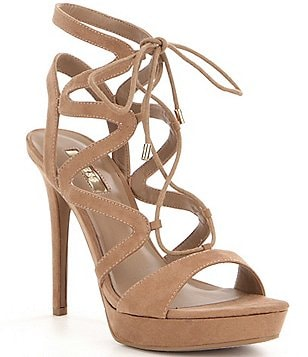 Guess Aurela3 Suede Lace-Up Ultra High Heel Dress Sandals