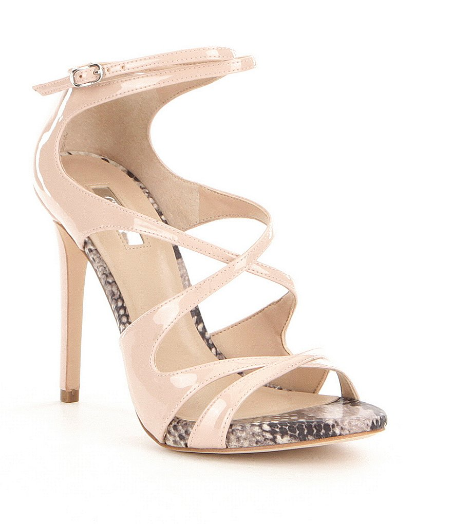 Guess Ablane Snake Print Detail Ultra High Heel Dress Sandals