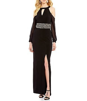 Sangria Keyhole Neck Long Sleeve Cold-Shoulder Beaded Waist Solid Gown