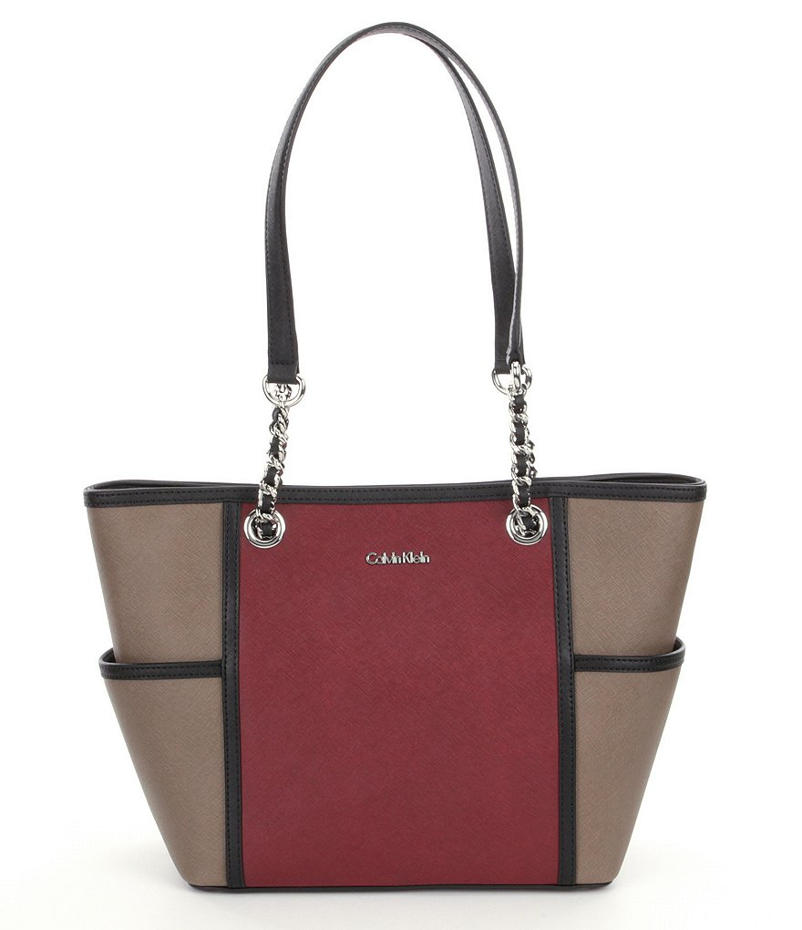 Calvin Klein Color Block Chain-Handle Tote