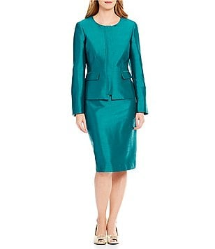 John Meyer Zip Front 2-Piece Skirt Suit