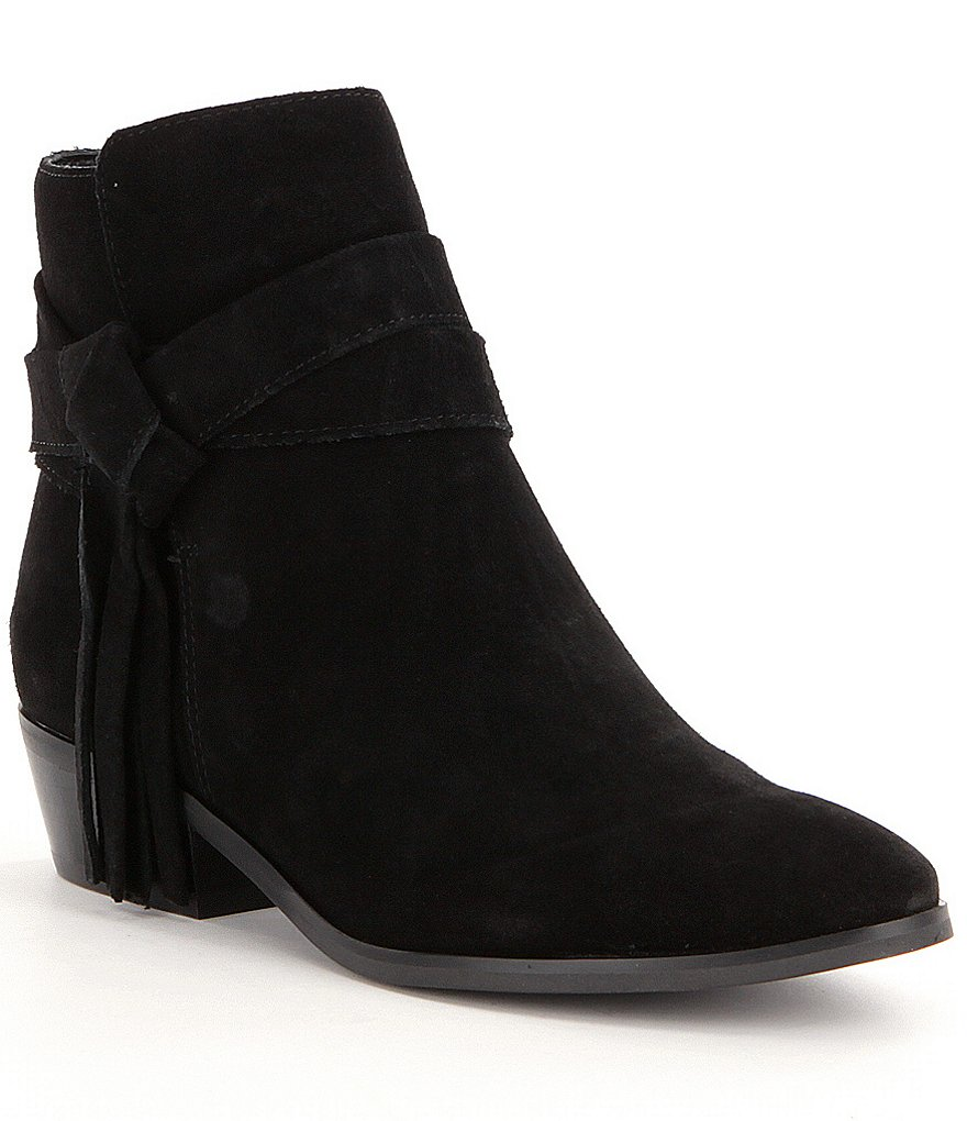 Guess Camrin Suede Wrap Around fringe Tassel Strap Booties