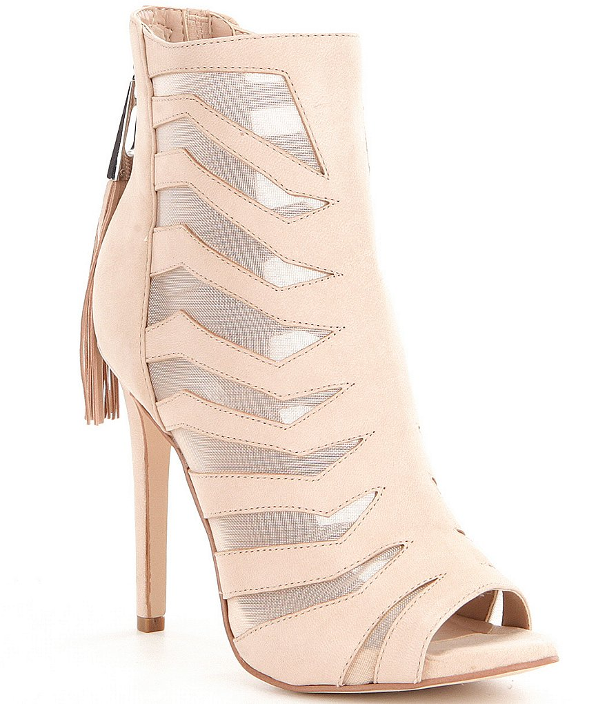 Guess Anika Leather Mesh Cut-Out Back Zip Peep Toe Shooties