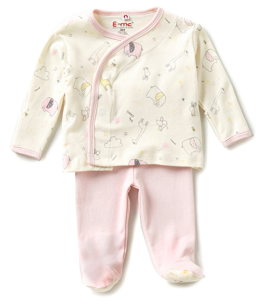 E=MC2 Baby Girls Newborn-3 Months Sweet Dreams Magnetic-Closure Kimono Top & Footed Pants Set