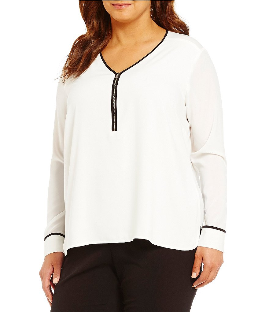 Calvin Klein Plus V-Neck Contrast-Trim Zip Front Top