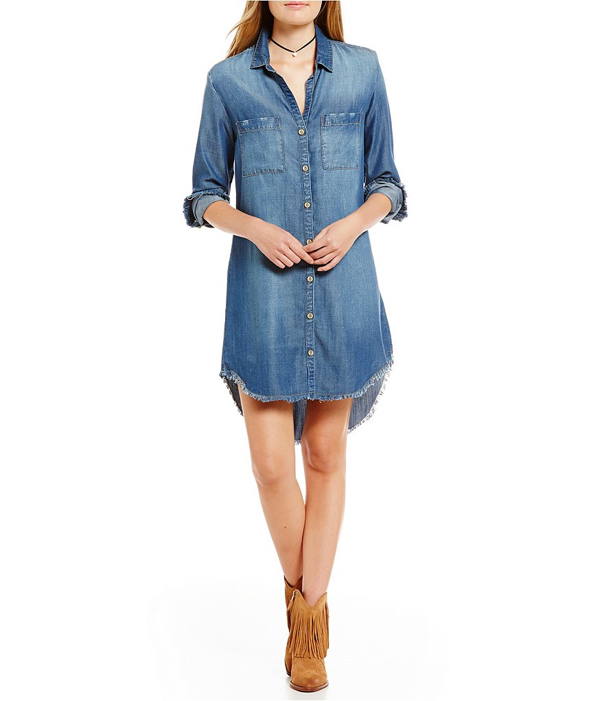 Chelsea & Violet Frayed Edge Hips Button Down Denim Dress