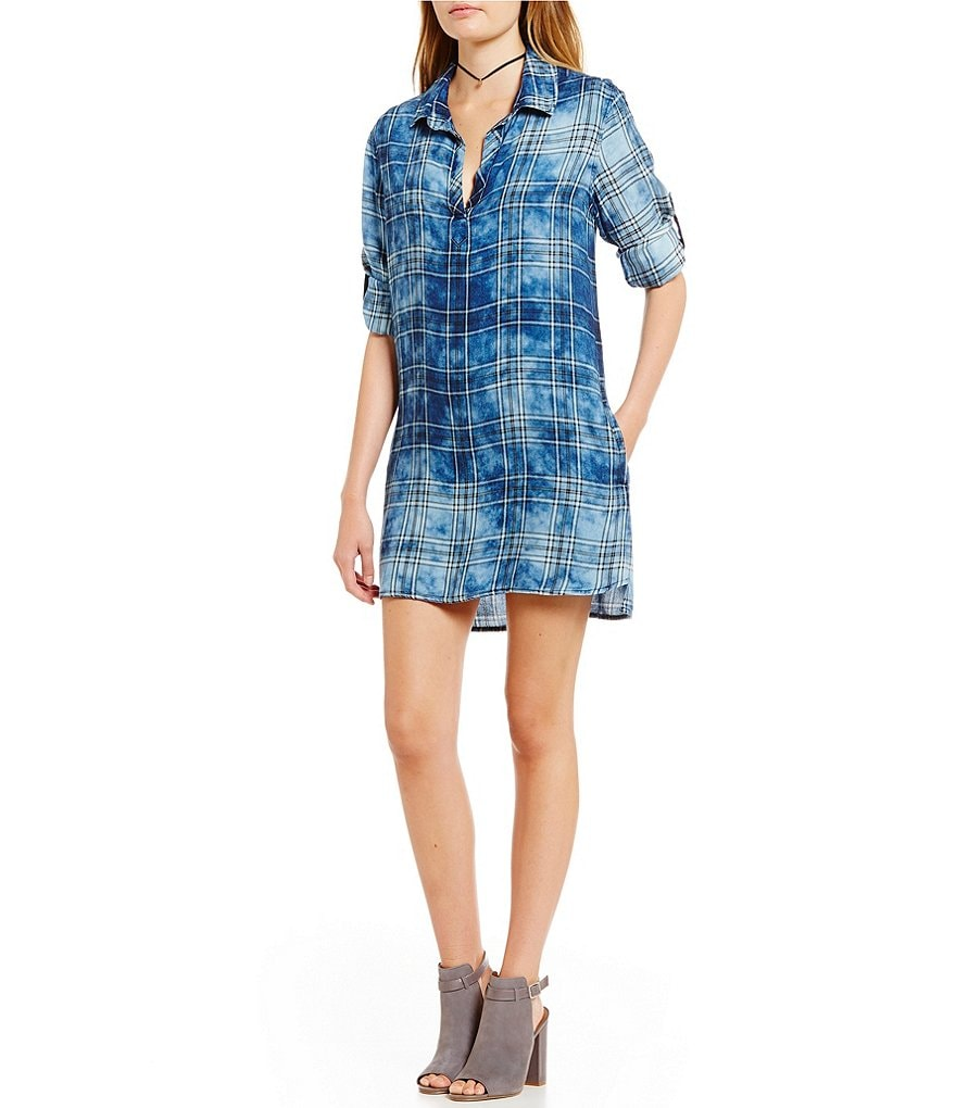 Chelsea & Violet Plaid Roll-tab Sleeve Dress