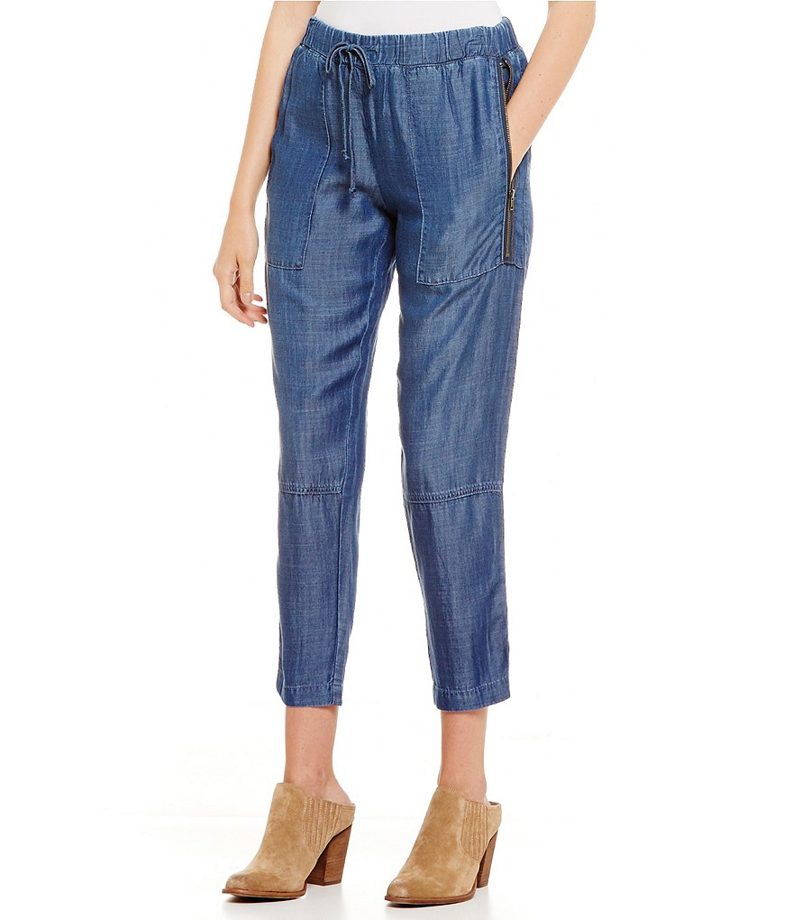 Chelsea & Violet Denim Side Zip-Pocket Drawstring Ankle Pant