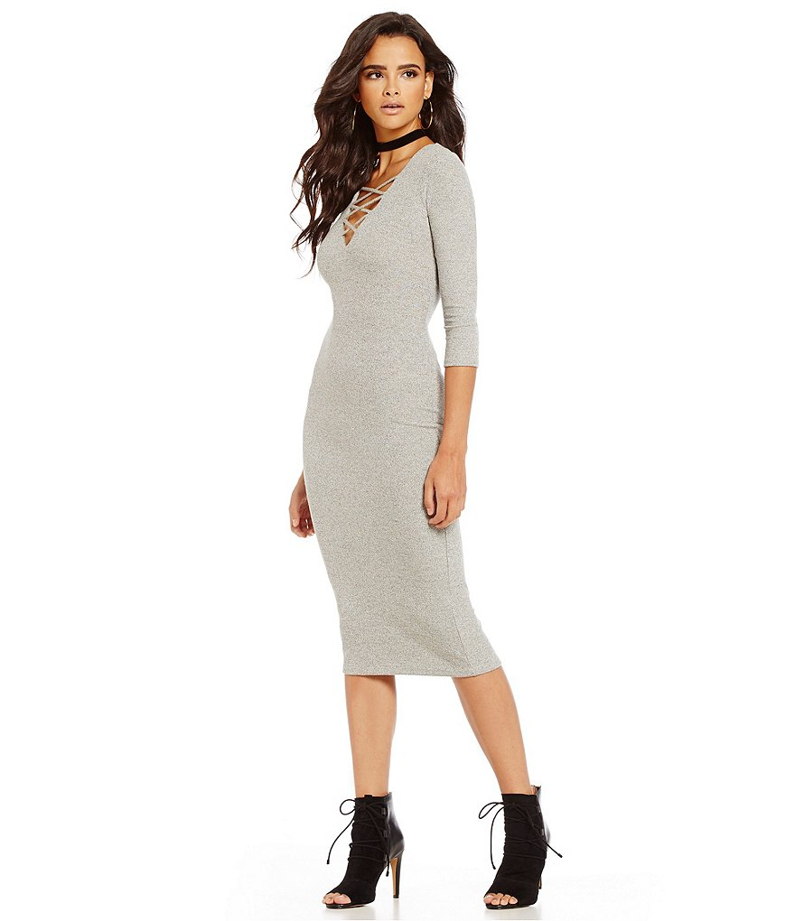 Chelsea & Violet Lace Up V-Neck 3/4 Sleeve Knit Dress