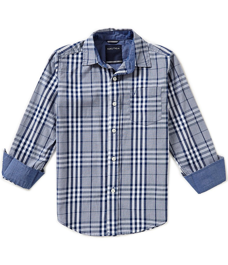 Nautica Big Boys 8-20 Plaid Long-Sleeve Woven Shirt